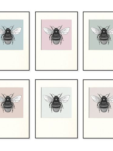 Red Tailed Bumble Bee Print Set X 6-0