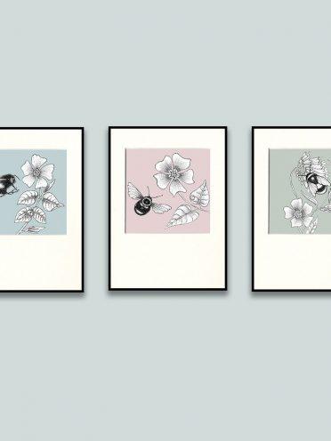 Bee & Flowers Print Set-0