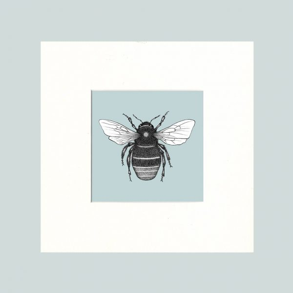 Red Tailed Bumble Bee Print (Blue)-0