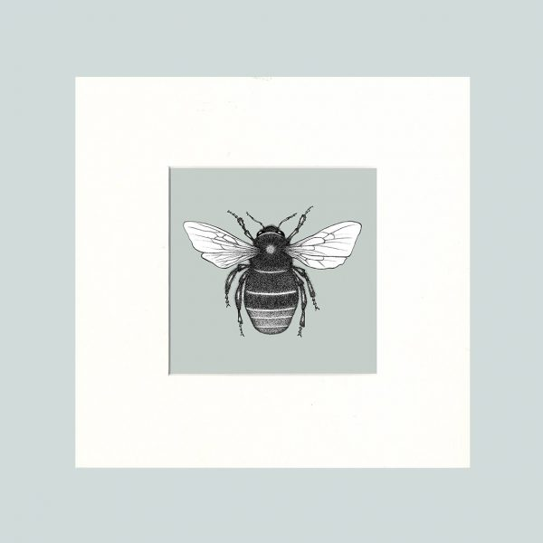 Red Tailed Bumble Bee Print (Green)-0