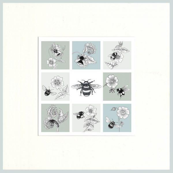 Bees Print (Green/Blue)-0