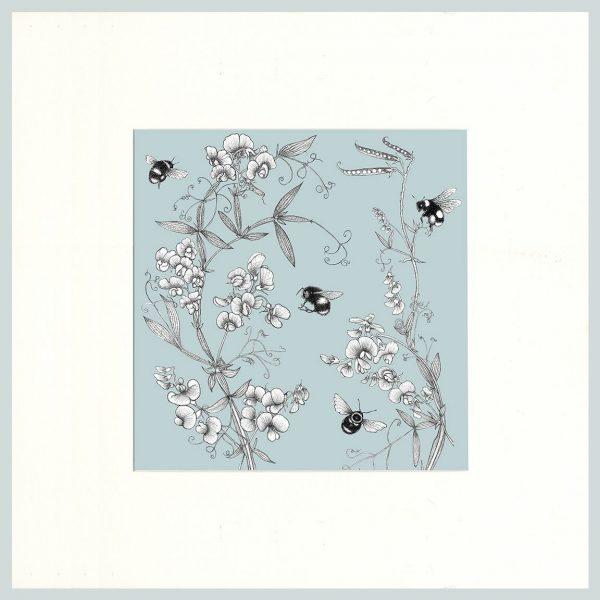 Everlasting Pea & Bees Print (Blue)-0