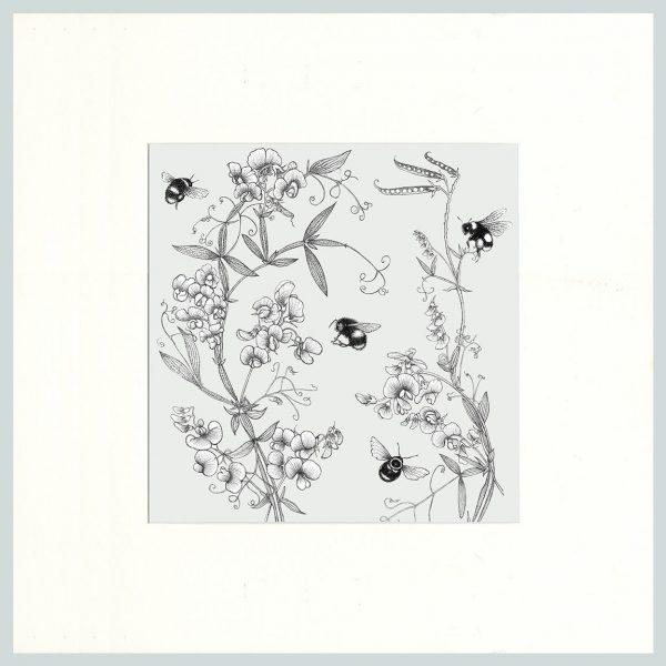 Everlasting Pea & Bees Print (Cream)-0