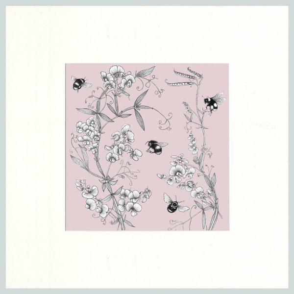 Everlasting Pea & Bees Print (Pink)-0