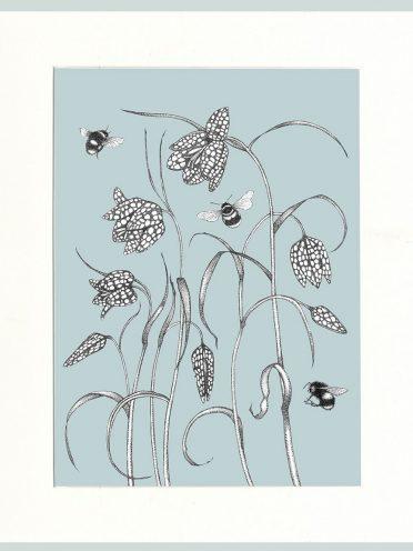 Fritillary & Bees Print (Blue)-0