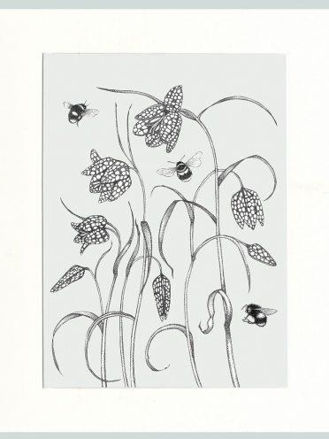 Fritillary & Bees Print (Cream)-0
