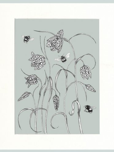 Fritillary & Bees Print (Green)-0