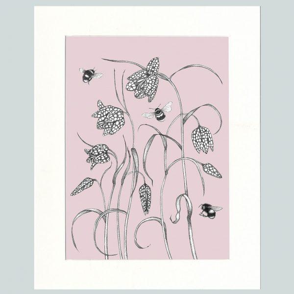 Fritillary & Bees Print (Pink)-0
