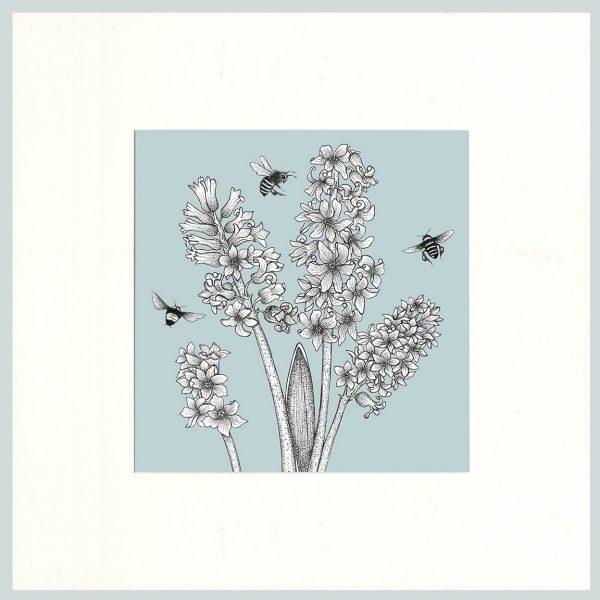 Hyacinth & Bees Print (Blue)-0