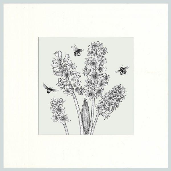Hyacinth & Bees Print (Cream)-0