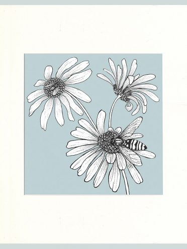 Hoverfly & Daisies Print (Blue)-0