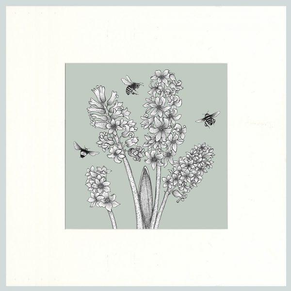 Hyacinth & Bees Print (Green)-0