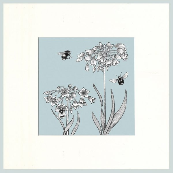 Honey Lily & Bees Print (Blue)-0