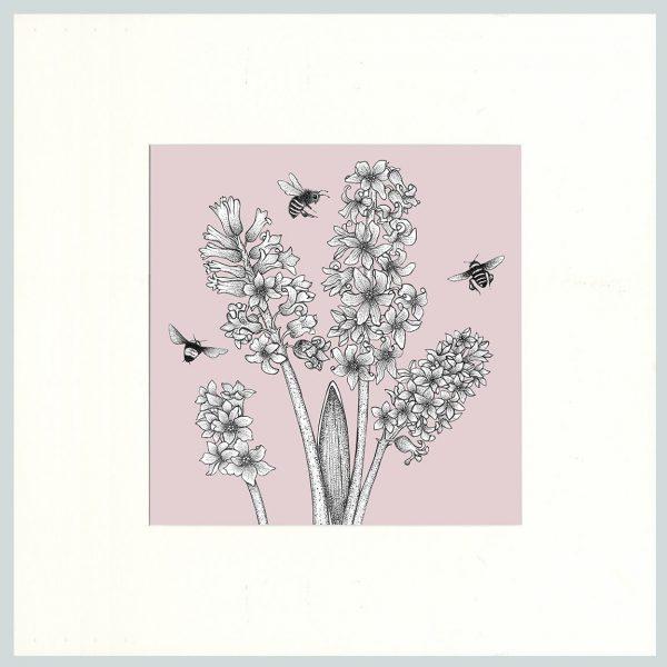 Hyacinth & Bees Print (Pink)-0