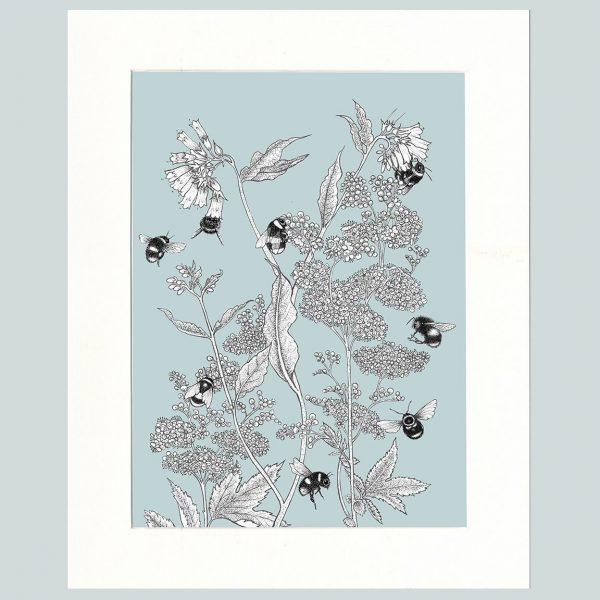 Meadowsweet & Bees Print (Blue)-0