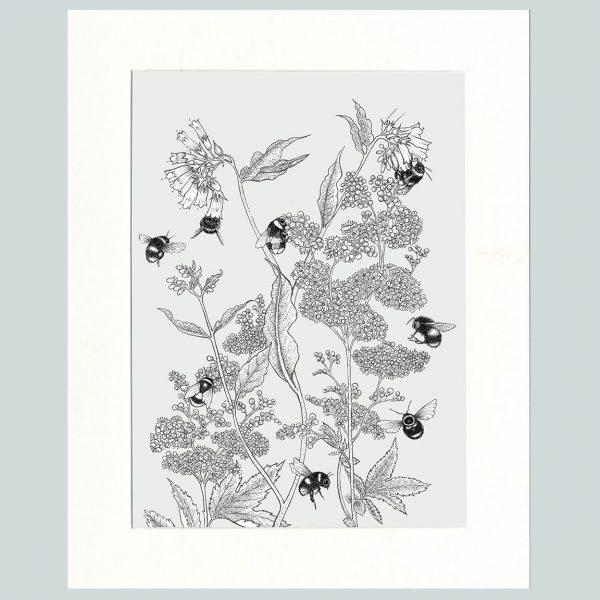 Meadowsweet & Bees Print (Cream)-0
