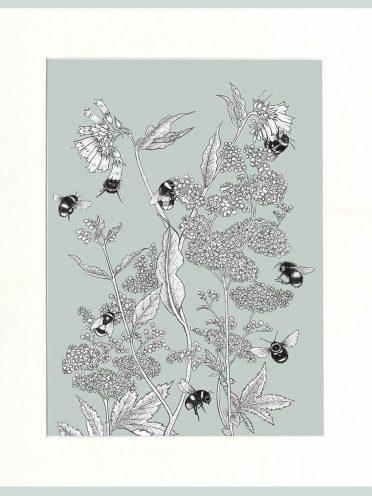 Meadowsweet & Bees Print (Green)-0