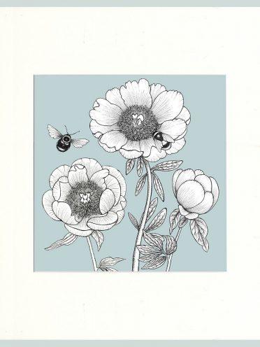 Peony & Bees Print (Blue)-0