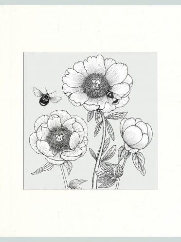 Peony & Bees Print (Cream)-0