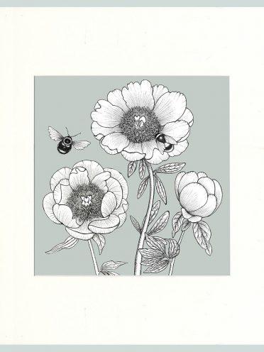 Peony & Bees Print (Green)-0