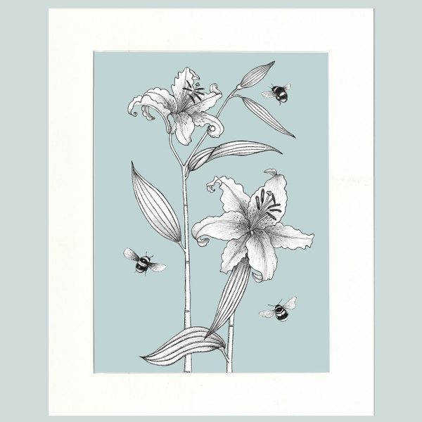 Lily & Bees (Blue)-0
