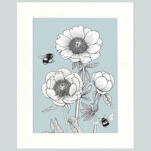 Peony & Bees (Blue)-0