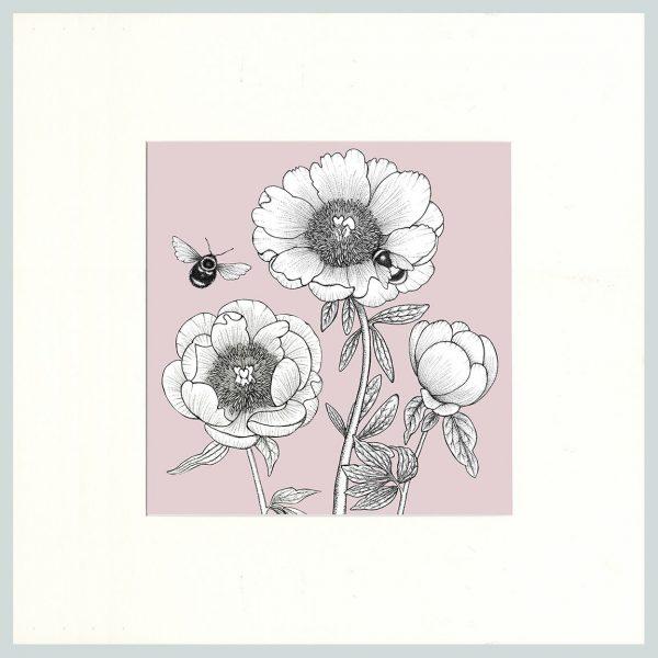 Peony & Bees Print (Pink)-0