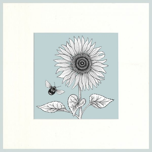 Sunflower & Bees Print (Blue)-7616