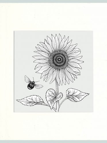 Sunflower & Bees Print (Cream)-0