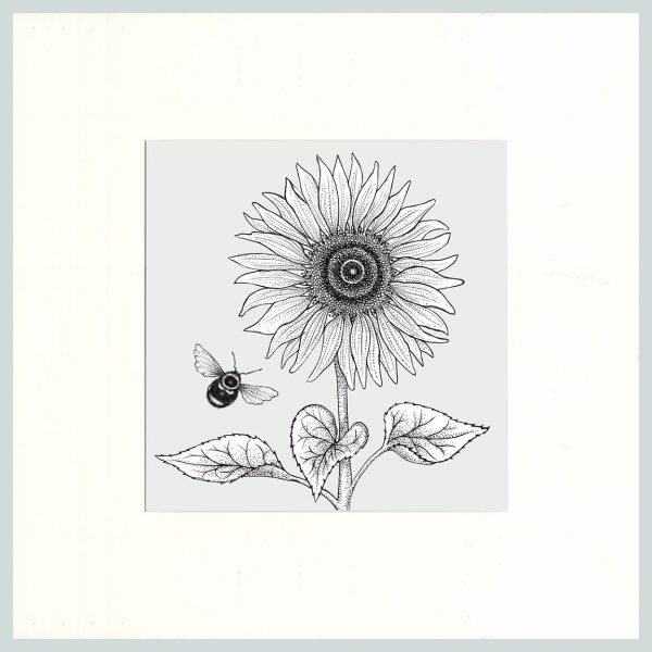 Sunflower & Bees Print (Cream)-0