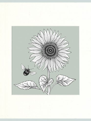 Sunflower & Bees Print (Green)-0