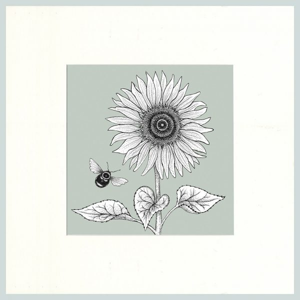 Sunflower & Bees Print (Green)-0