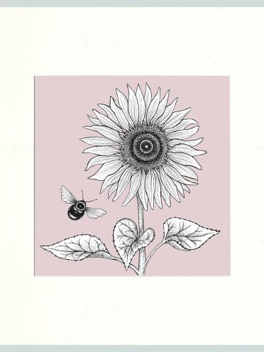 Sunflower & Bees Print (Pink)-0