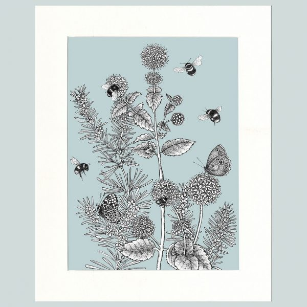 Watermint & Rosemary Print (Blue)-0
